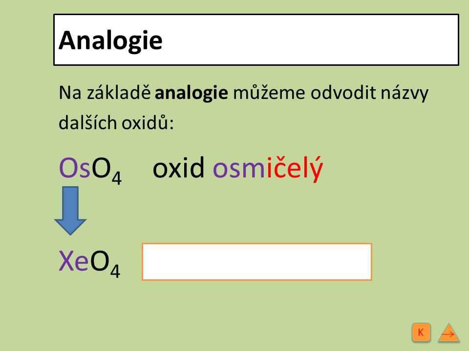 OsO4 oxid osmičelý XeO4 oxid xenoničelý Analogie