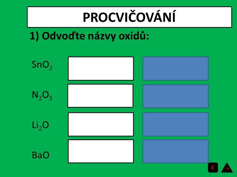 PROCVIČOVÁNÍ 1) Odvoďte názvy oxidů: