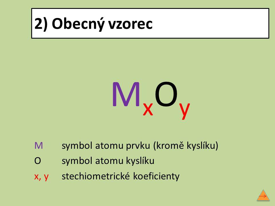 MxOy 2) Obecný vzorec M symbol atomu prvku (kromě kyslíku)