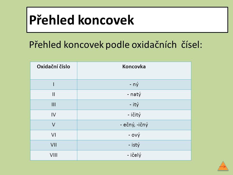 Přehled koncovek Přehled koncovek podle oxidačních čísel:
