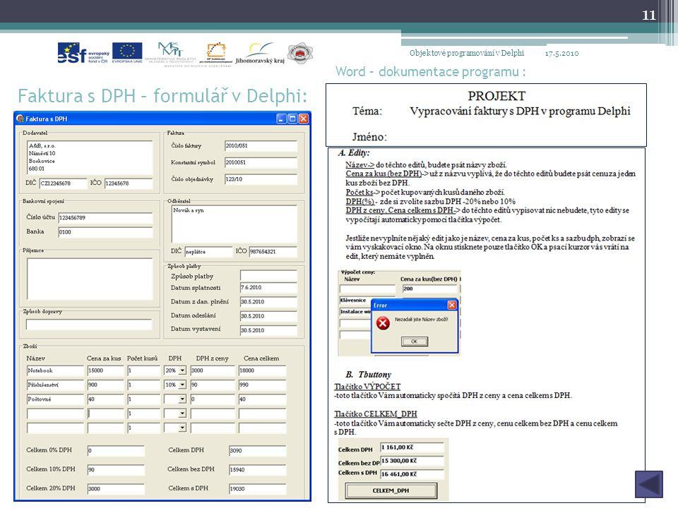 Faktura s DPH – formulář v Delphi:
