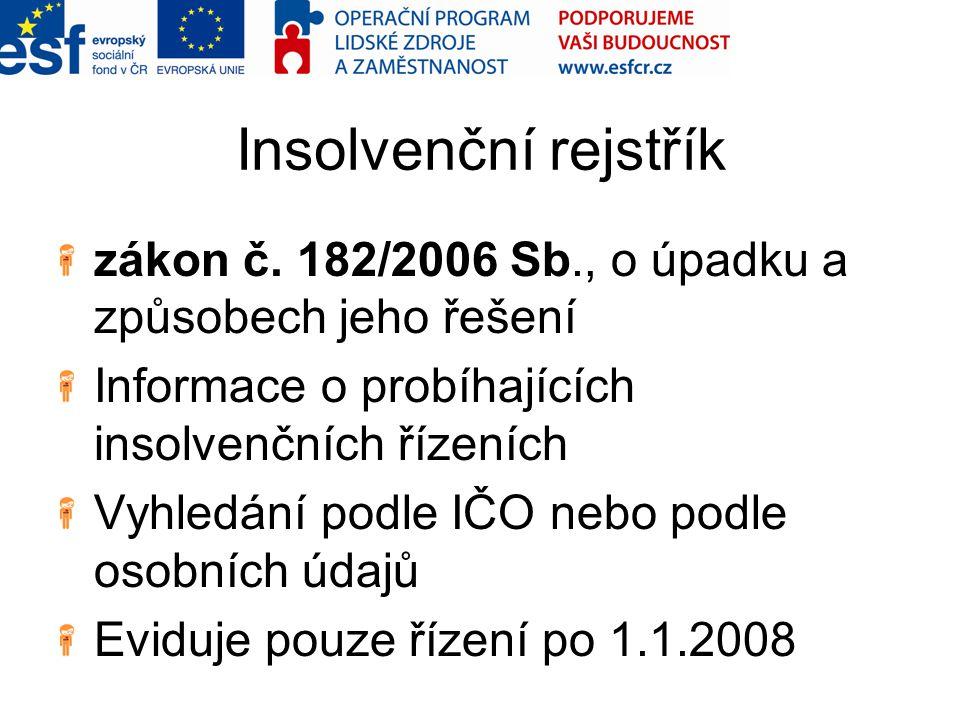 Insolvenční rejstřík zákon č. 182/2006 Sb., o úpadku a způsobech jeho řešení. Informace o probíhajících insolvenčních řízeních.