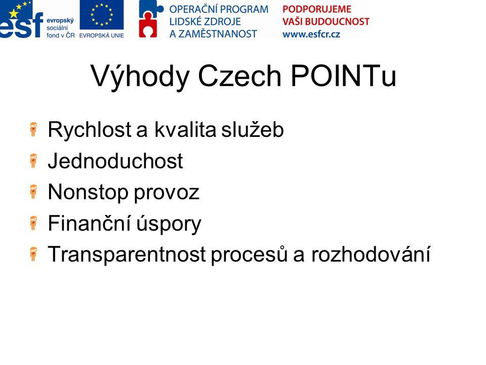 Výhody Czech POINTu Rychlost a kvalita služeb Jednoduchost