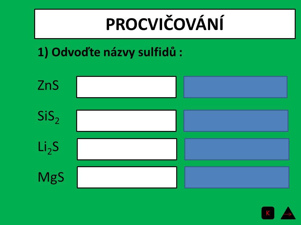 PROCVIČOVÁNÍ ZnS SiS2 sulfid křemičitý Li2S sulfid lithný MgS