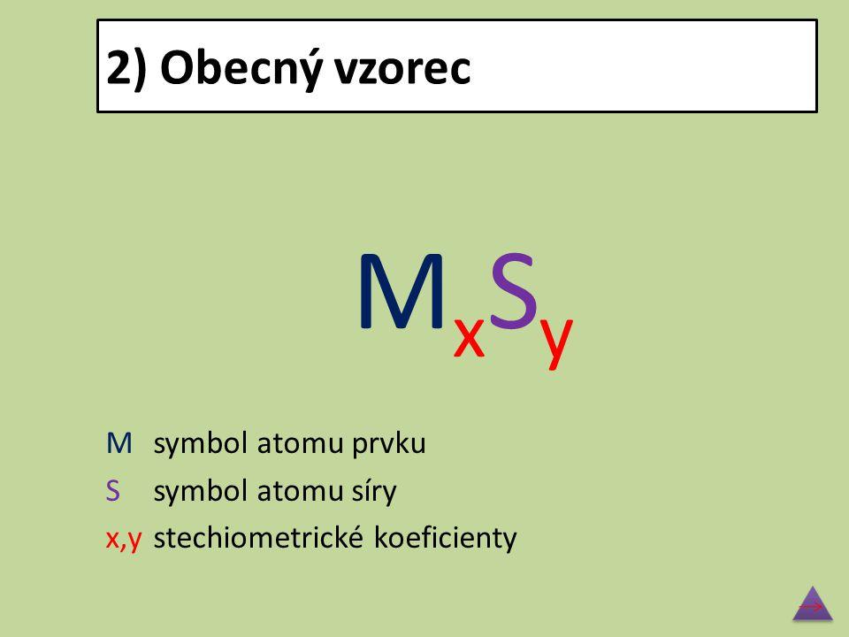 MxSy 2) Obecný vzorec M symbol atomu prvku S symbol atomu síry