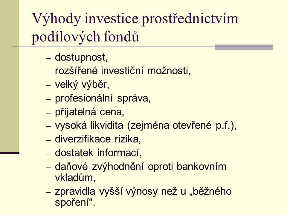 Výhody investice prostřednictvím podílových fondů