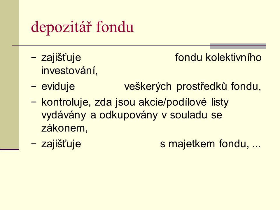 depozitář fondu zajišťuje fondu kolektivního investování,