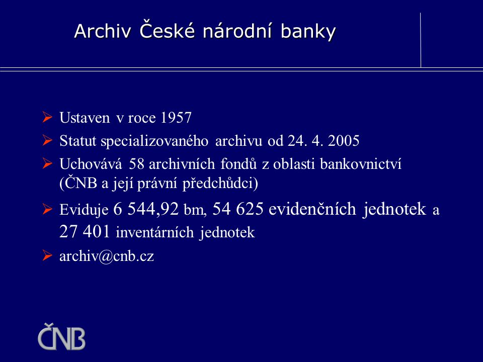 Archiv České národní banky