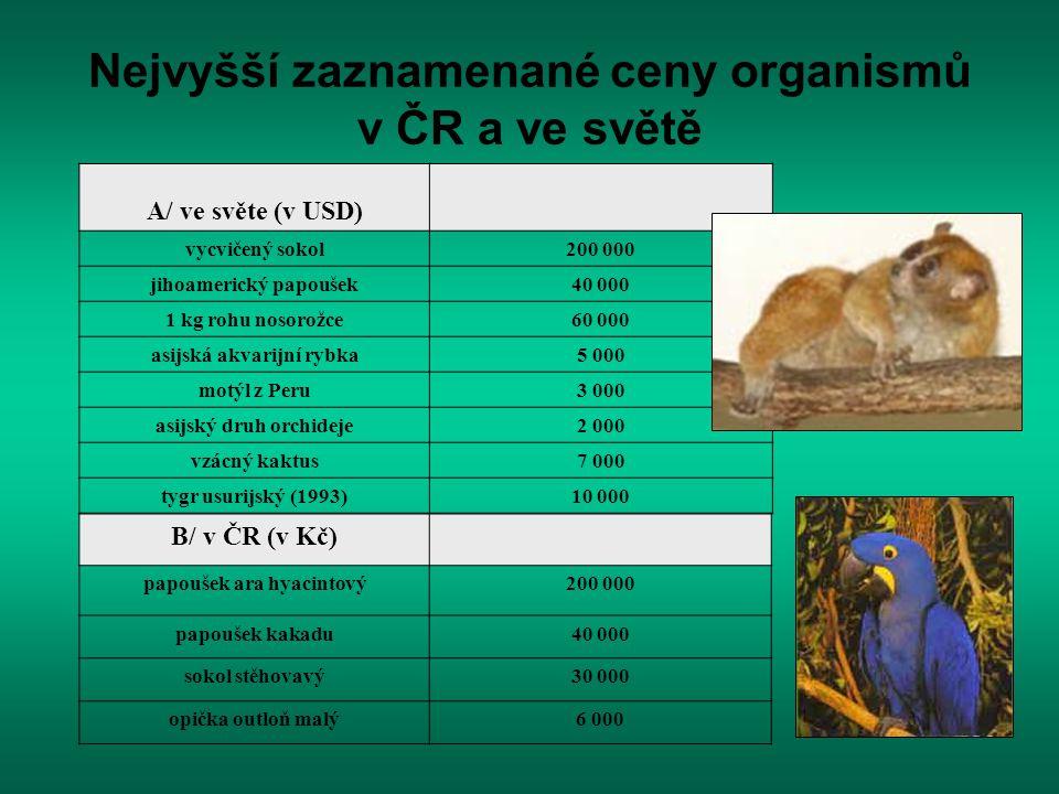 Nejvyšší zaznamenané ceny organismů v ČR a ve světě