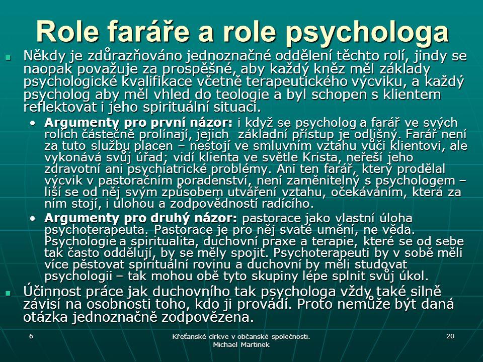Role faráře a role psychologa