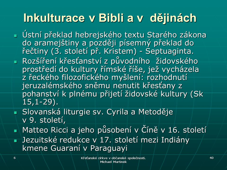 Inkulturace v Bibli a v dějinách
