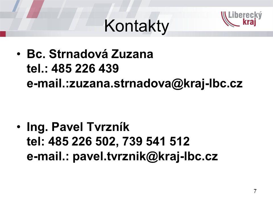 Kontakty Bc. Strnadová Zuzana tel.: 485 226 439