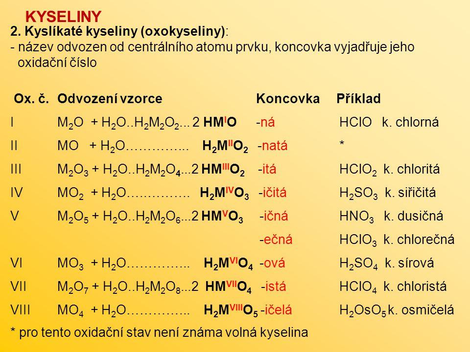 KYSELINY 2. Kyslíkaté kyseliny (oxokyseliny):