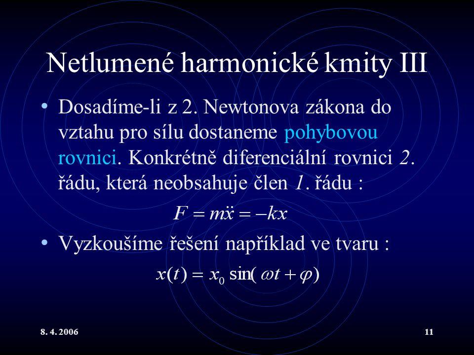 Netlumené harmonické kmity III