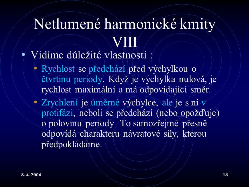 Netlumené harmonické kmity VIII