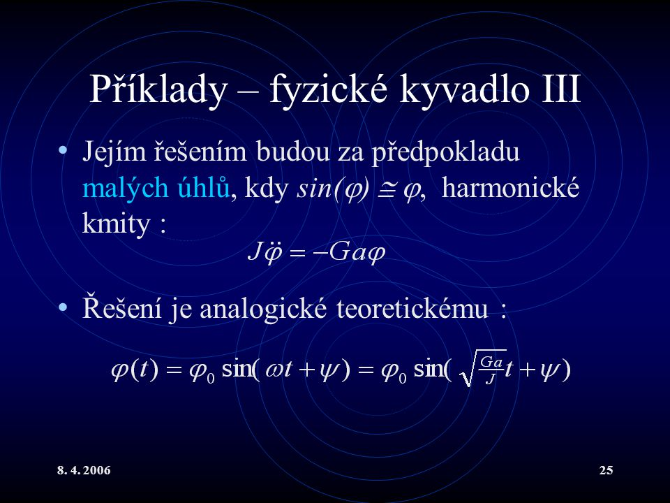 Příklady – fyzické kyvadlo III