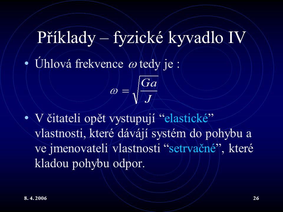 Příklady – fyzické kyvadlo IV