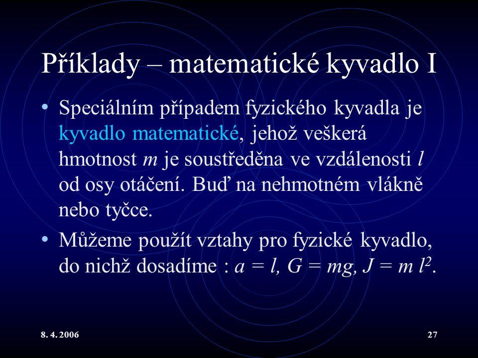 Příklady – matematické kyvadlo I