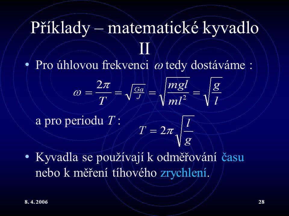 Příklady – matematické kyvadlo II