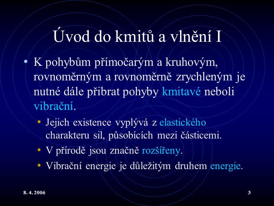 Úvod do kmitů a vlnění I K pohybům přímočarým a kruhovým, rovnoměrným a rovnoměrně zrychleným je nutné dále přibrat pohyby kmitavé neboli vibrační.