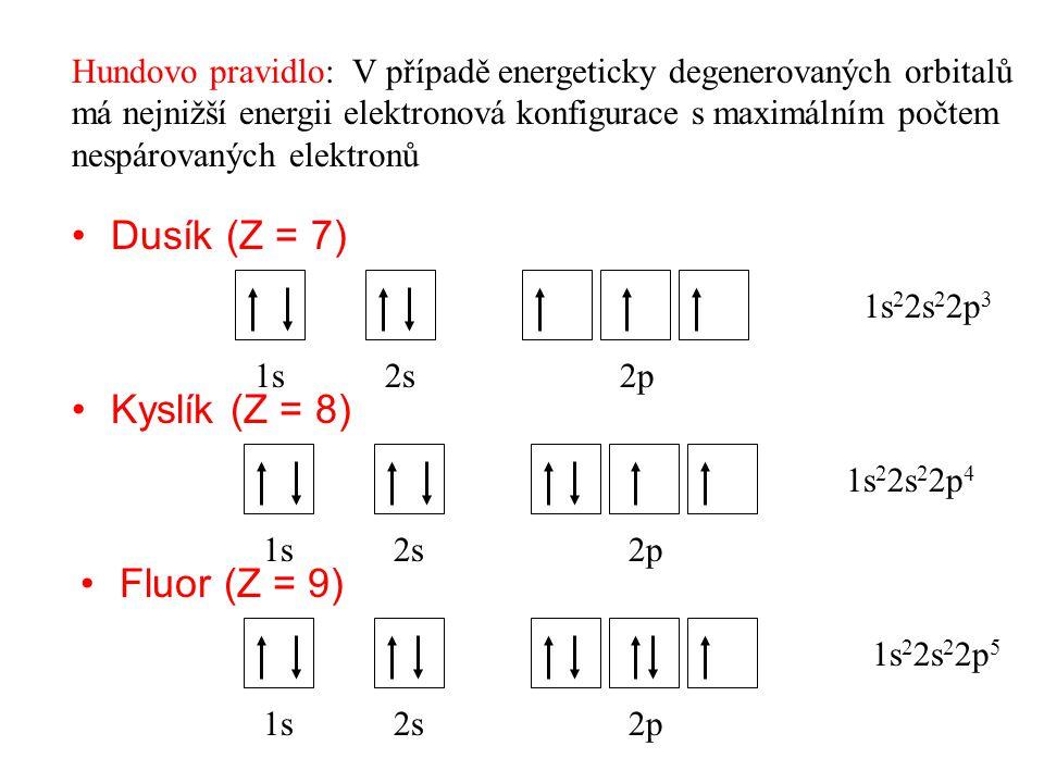 Dusík (Z = 7) Kyslík (Z = 8) Fluor (Z = 9)