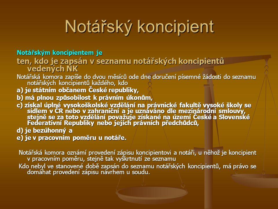 Notářský koncipient Notářským koncipientem je. ten, kdo je zapsán v seznamu notářských koncipientů vedených NK.