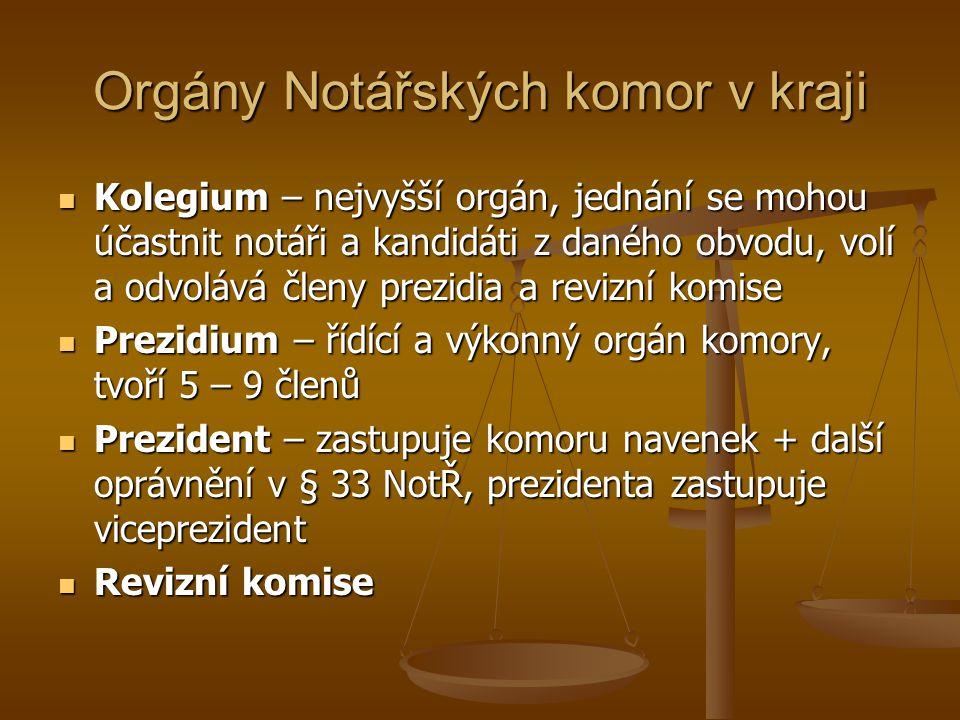 Orgány Notářských komor v kraji