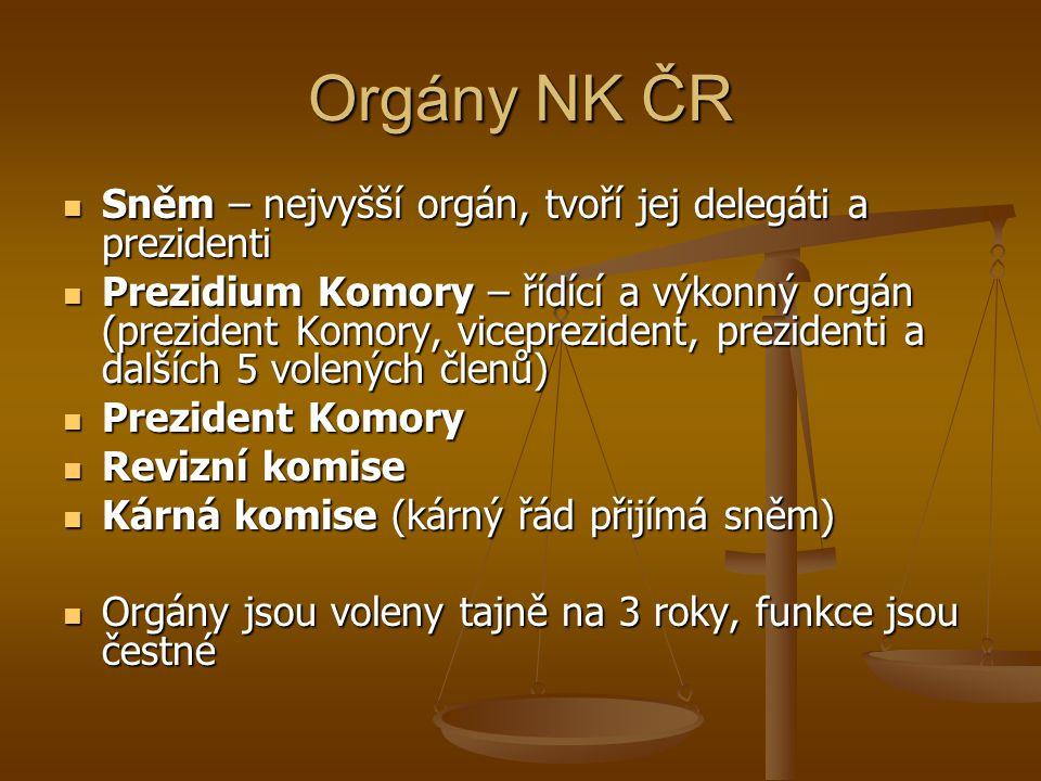 Orgány NK ČR Sněm – nejvyšší orgán, tvoří jej delegáti a prezidenti