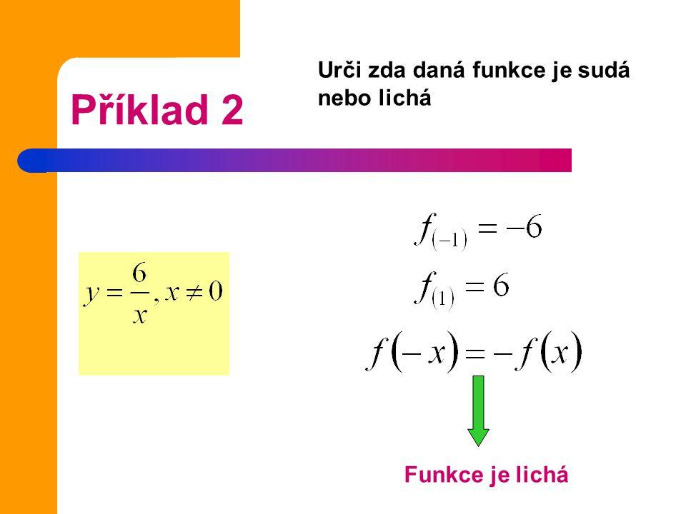 Urči zda daná funkce je sudá nebo lichá