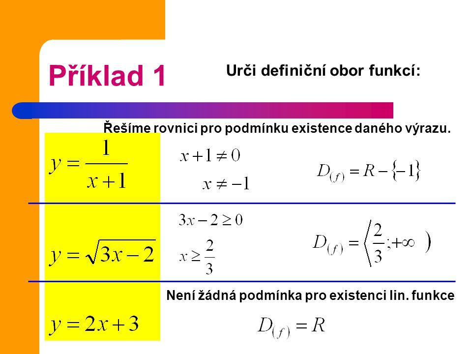 Příklad 1 Urči definiční obor funkcí: