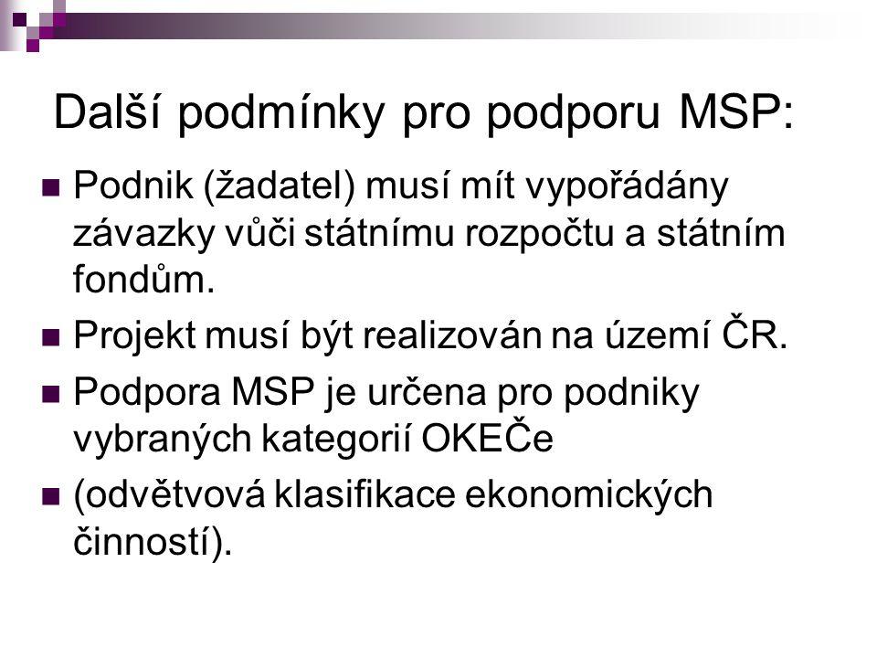Další podmínky pro podporu MSP: