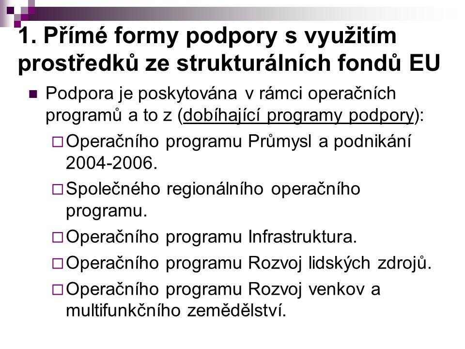 1. Přímé formy podpory s využitím prostředků ze strukturálních fondů EU