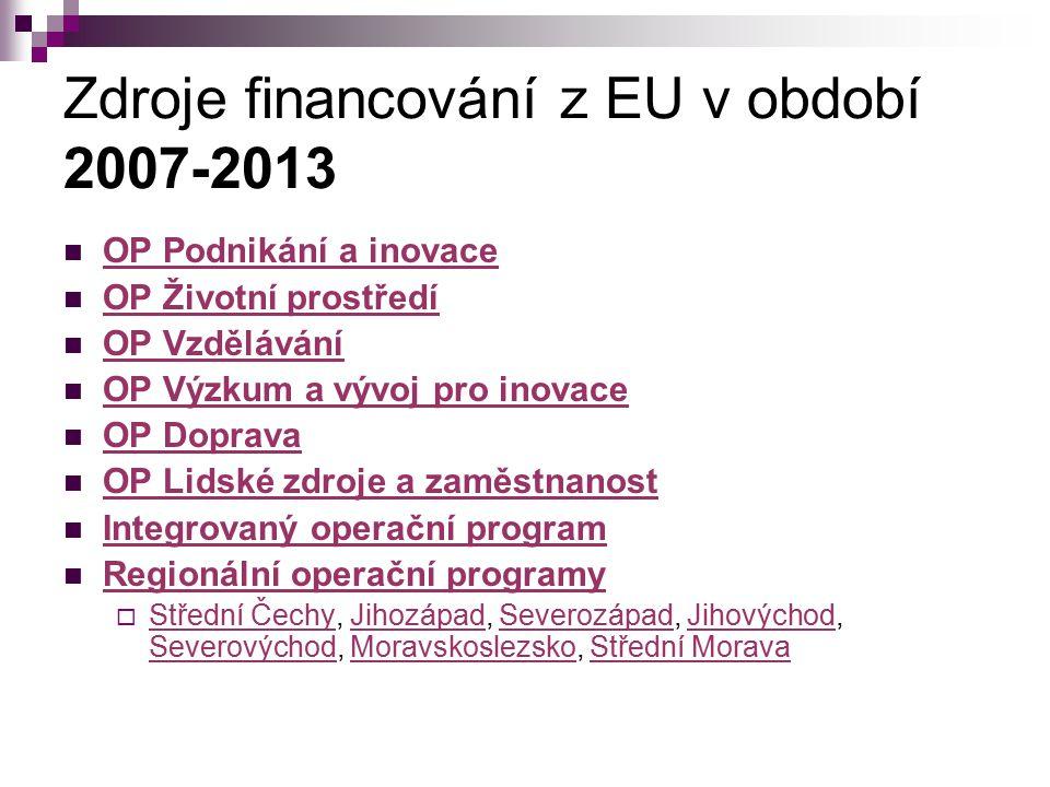 Zdroje financování z EU v období 2007-2013