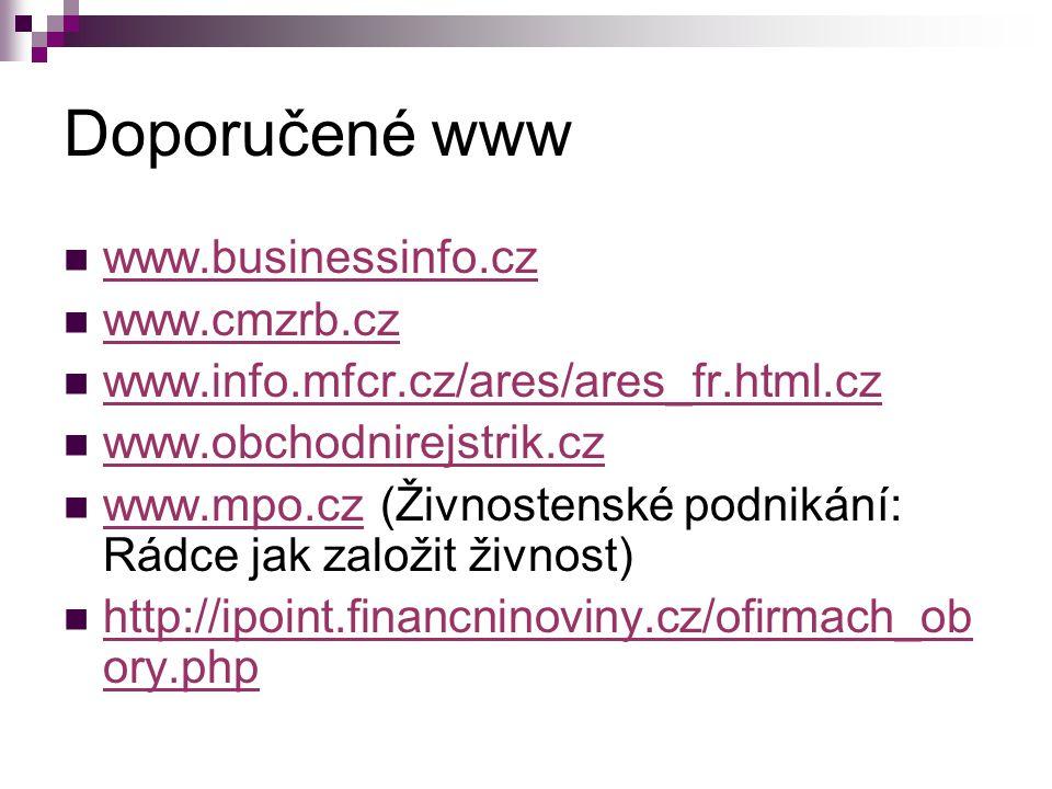 Doporučené www www.businessinfo.cz www.cmzrb.cz