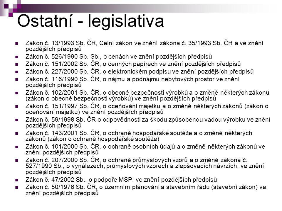 Ostatní - legislativa Zákon č. 13/1993 Sb. ČR, Celní zákon ve znění zákona č. 35/1993 Sb. ČR a ve znění pozdějších předpisů.