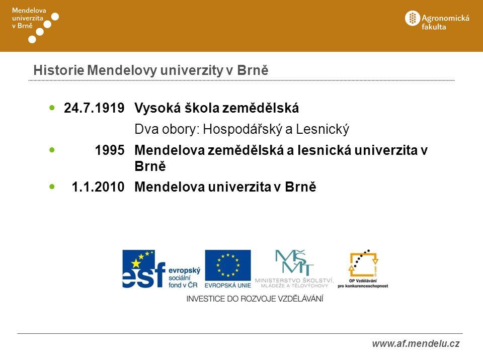 Historie Mendelovy univerzity v Brně 24.7.1919 Vysoká škola zemědělská