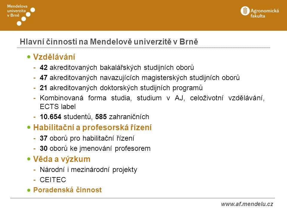 Hlavní činnosti na Mendelově univerzitě v Brně Vzdělávání