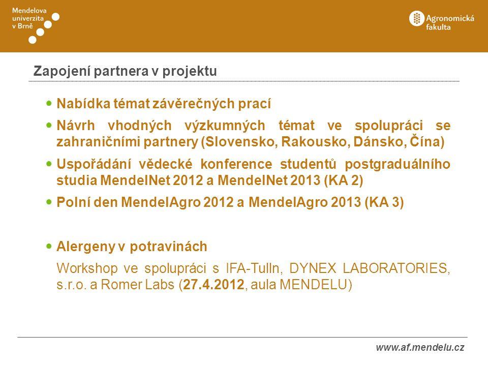 Zapojení partnera v projektu Nabídka témat závěrečných prací