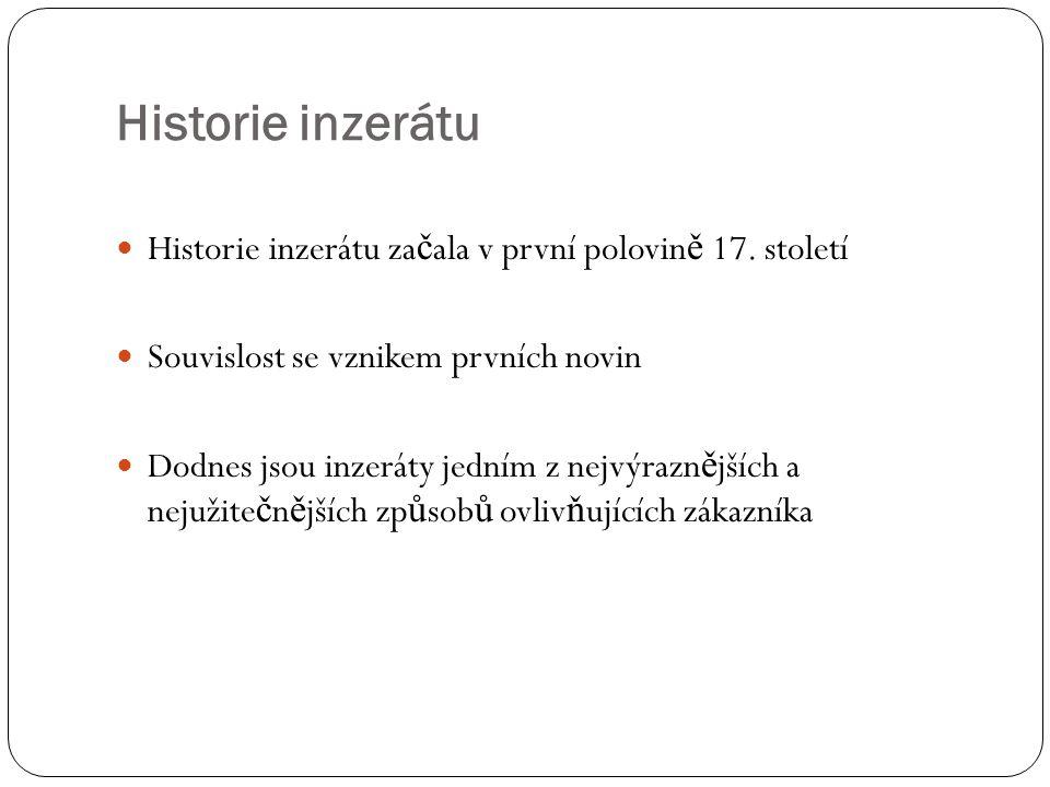 Historie inzerátu Historie inzerátu začala v první polovině 17. století. Souvislost se vznikem prvních novin.