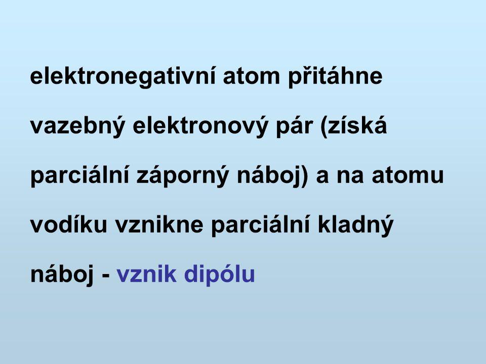elektronegativní atom přitáhne vazebný elektronový pár (získá parciální záporný náboj) a na atomu vodíku vznikne parciální kladný náboj - vznik dipólu