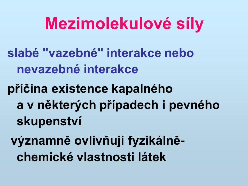 Mezimolekulové síly slabé vazebné interakce nebo nevazebné interakce