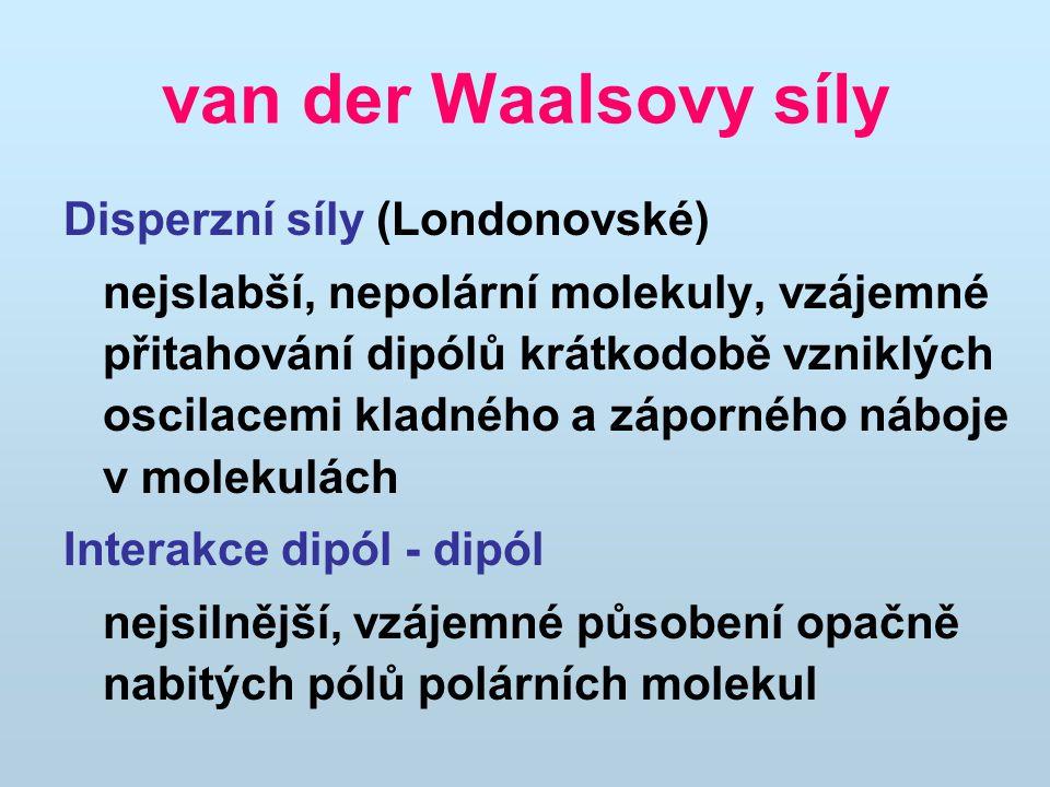 van der Waalsovy síly Disperzní síly (Londonovské)