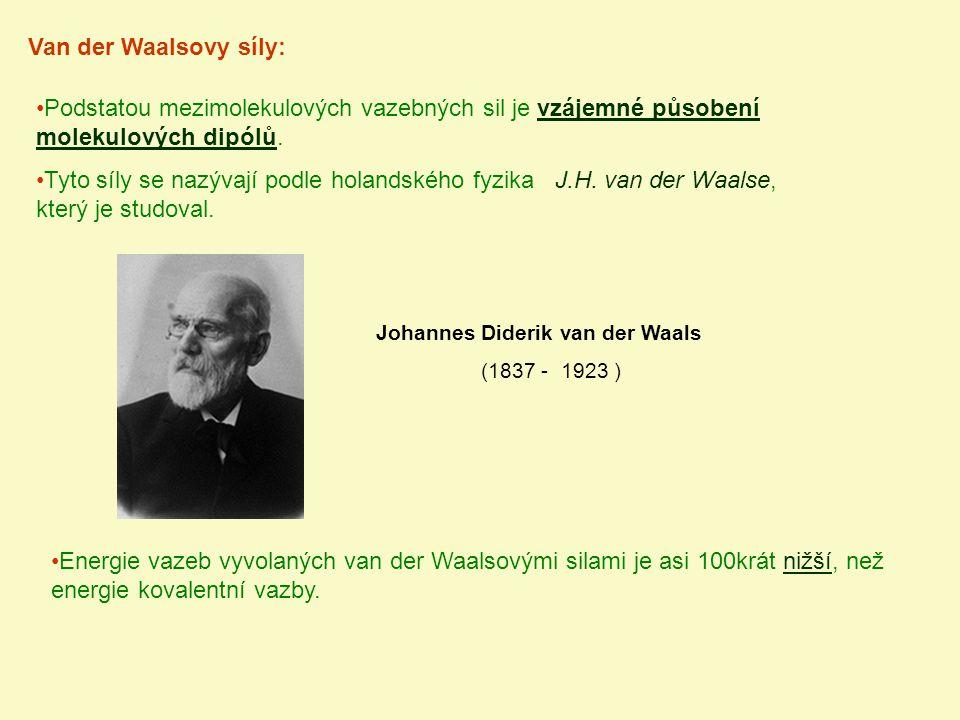 Van der Waalsovy síly: Podstatou mezimolekulových vazebných sil je vzájemné působení molekulových dipólů.