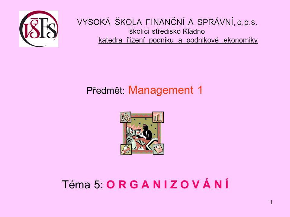 Předmět: Management 1 Téma 5: O R G A N I Z O V Á N Í