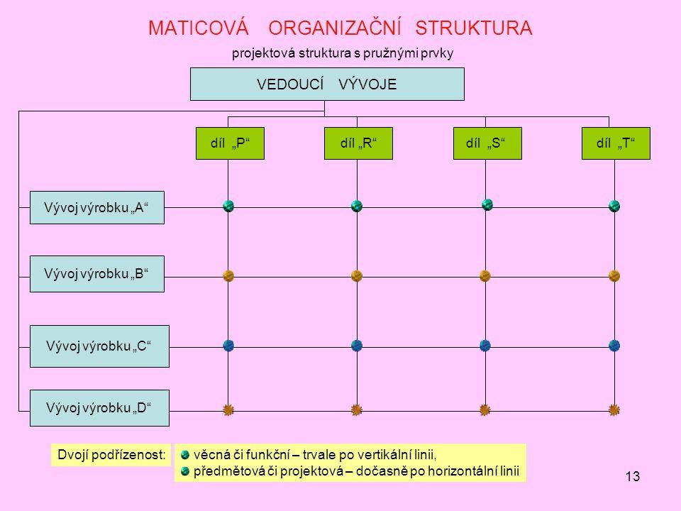 MATICOVÁ ORGANIZAČNÍ STRUKTURA projektová struktura s pružnými prvky