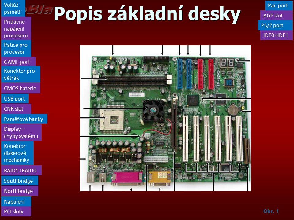 Popis základní desky Voltáž pamětí Par. port AGP slot
