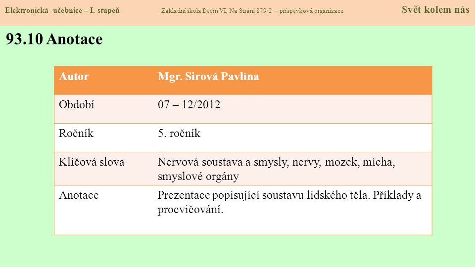 93.10 Anotace Autor Mgr. Sirová Pavlína Období 07 – 12/2012 Ročník