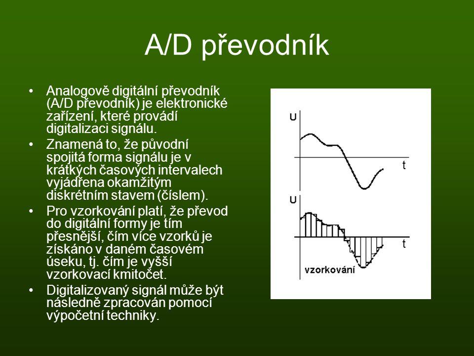 A/D převodník Analogově digitální převodník (A/D převodník) je elektronické zařízení, které provádí digitalizaci signálu.