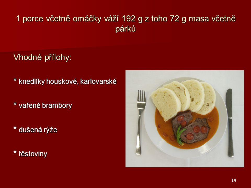 1 porce včetně omáčky váží 192 g z toho 72 g masa včetně párků