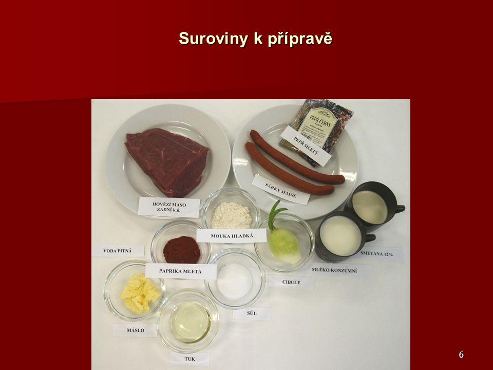 Suroviny k přípravě Hovězí maso zadní, párky, sůl, pepř mletý, cibule, tuk, paprika mletá, voda pitná, mouka hladká, máslo, mléko, smetana 12%.